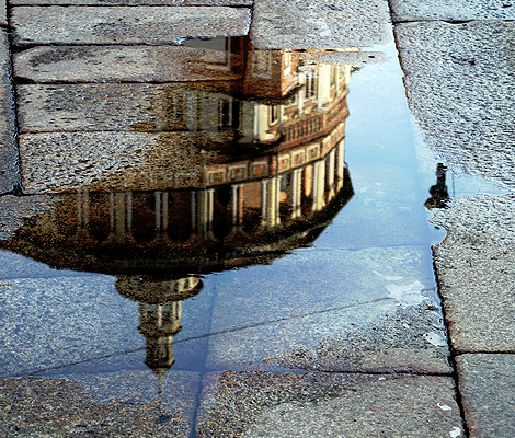 The reflection of Santa Maria delle Grazie in Milan